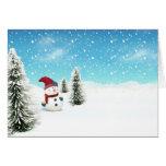 Bonhomme de neige dans la neige carte de vœux