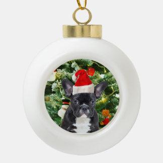 Bonhomme de neige d'arbre de Noël de bouledogue Boule En Céramique