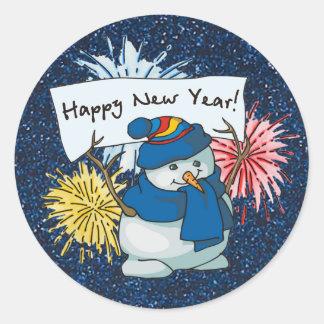 bonhomme de neige de bonne année sticker rond