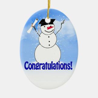 Bonhomme de neige de graduation avec le diplôme ornement ovale en céramique