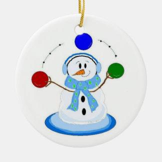 Bonhomme de neige de jonglerie ornement rond en céramique