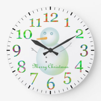 Bonhomme de neige de Joyeux Noël Grande Horloge Ronde