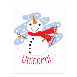 Bonhomme de neige de licorne carte postale