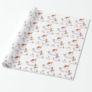 Bonhomme de neige de licorne papier cadeau