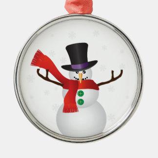 Bonhomme de neige de Noël avec l'illustration de Ornement Rond Argenté