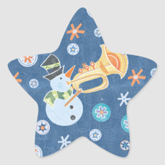 Bonhomme de neige de trompette faisant la musique stickers en étoile