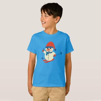 Bonhomme de neige drôle de ski, T-shirt de la