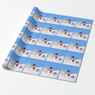 Bonhomme de neige et cadeau de Noël de sourire Papiers Cadeaux Noël