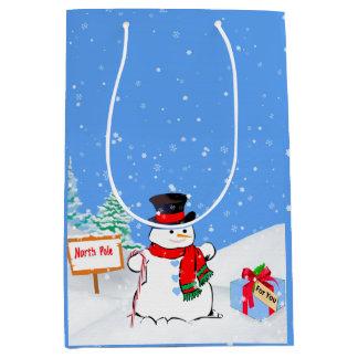 Bonhomme de neige et cadeau de Noël de sourire Sac Cadeau Medium