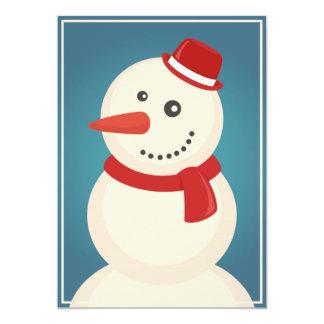Bonhomme de neige et renne carton d'invitation  12,7 cm x 17,78 cm