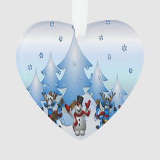 Bonhomme de neige et rennes dansant sous des