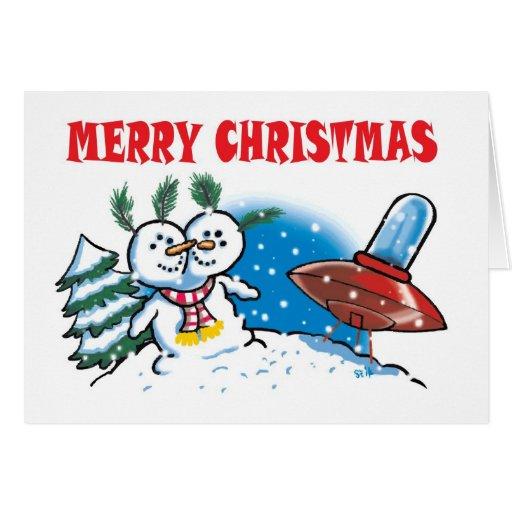 Bonhomme de neige étranger carte de vœux