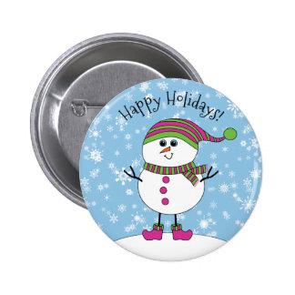 Bonhomme de neige fantaisie d'hiver bonnes fêtes pin's
