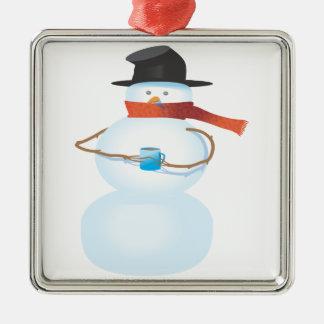 Bonhomme de neige froid ornement carré argenté