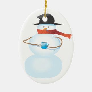 Bonhomme de neige froid ornement ovale en céramique