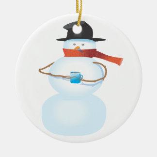 Bonhomme de neige froid ornement rond en céramique