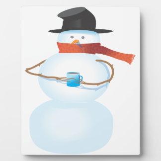 Bonhomme de neige froid plaque photo