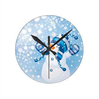 Bonhomme de neige horloge ronde