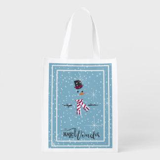 Bonhomme de neige ID440 bleu de Noël de magie et Sac Réutilisable
