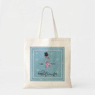 Bonhomme de neige ID440 bleu de Noël de magie et Tote Bag