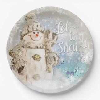 Bonhomme de neige mignon de Noël avec des flocons Assiettes En Papier