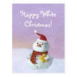 Bonhomme de neige mignon de Noël Cartes Postales