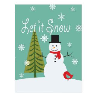 bonhomme de neige moderne d'hiver de tendances carte postale