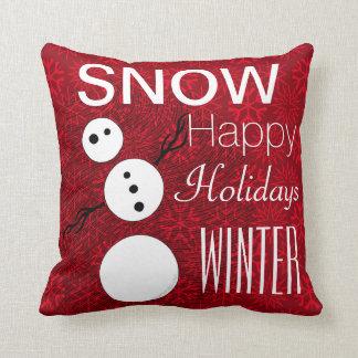 Bonhomme de neige noir et blanc de Z des vacances Coussins Carrés