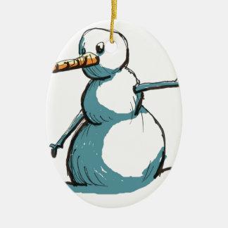 bonhomme de neige ornement ovale en céramique