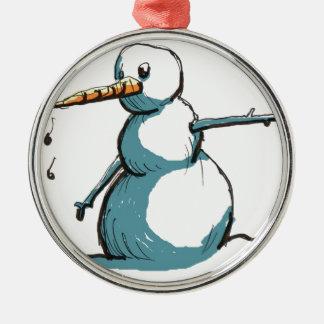bonhomme de neige ornement rond argenté