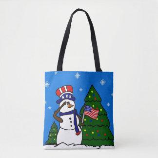 Bonhomme de neige patriotique des Etats-Unis de Sac