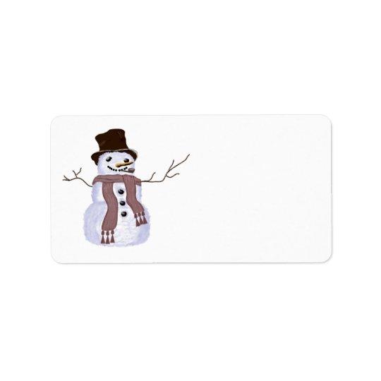 Bonhomme de neige personnalisable mignon d'hiver étiquette d'adresse