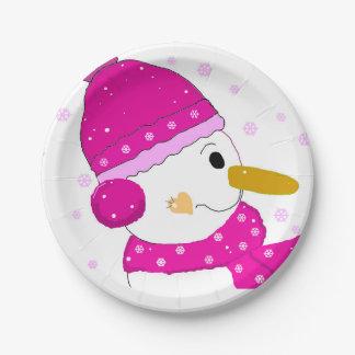 Bonhomme de neige rose assiettes en papier
