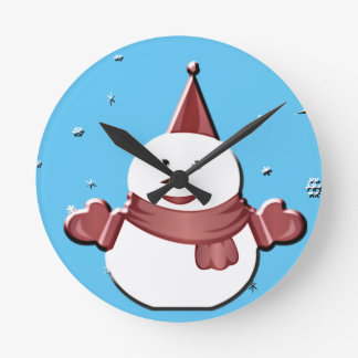 bonhomme de neige sous le gui horloge ronde