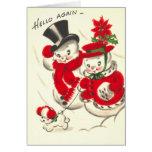 Bonhomme de neige vintage et carte de Snowwoman