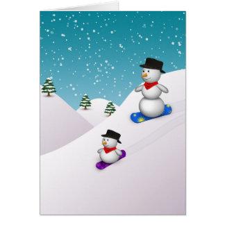 Bonhommes de neige mignons de snowboarding - carte