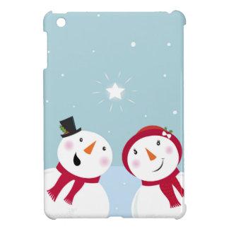 Bonhommes de neige mignons d'hiver avec Snowgirl Coques iPad Mini