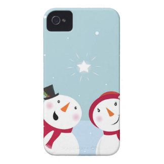 Bonhommes de neige mignons d'hiver avec Snowgirl Coques iPhone 4 Case-Mate