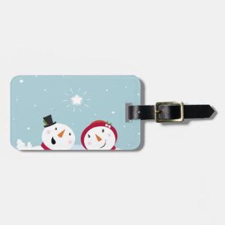 Bonhommes de neige mignons d'hiver avec Snowgirl Étiquettes Bagages