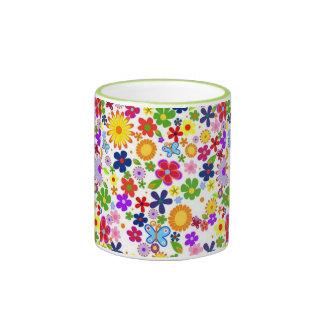 bonito floral de padrão mug ringer