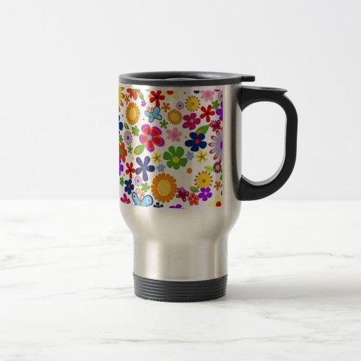 bonito floral de padrão mugs