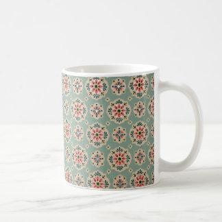 bonito floral de padrão mug blanc