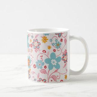 bonito floral de padrrão mug blanc