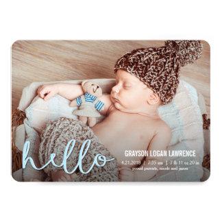 BONJOUR annonces modernes de naissance BLEUES Carton D'invitation 12,7 Cm X 17,78 Cm