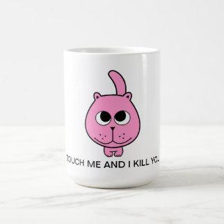 bonjour bande dessinée rose de sourire de minou de mug blanc