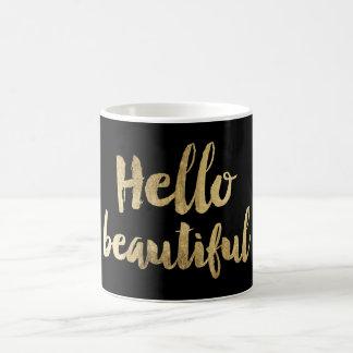 Bonjour belle typographie chic moderne d'or de mug