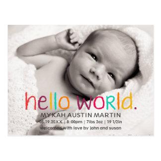 Bonjour carte postale de faire-part de naissance