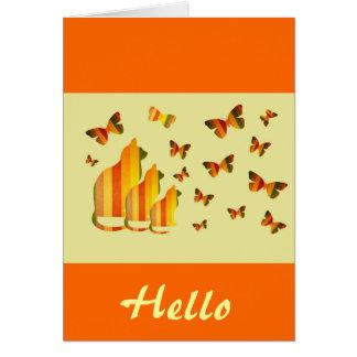 """""""Bonjour"""", chats et papillons dans l'orange et le Cartes"""