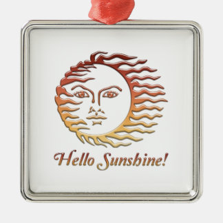 BONJOUR été de Sun d'amusement de SOLEIL Ornement Carré Argenté