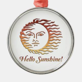 BONJOUR été de Sun d'amusement de SOLEIL Ornement Rond Argenté